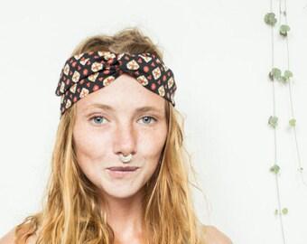 Vintage wire headband, dolly bow headband, turban headband, twisted wire headband, retro headband , dolly bow, black and red headband