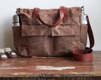 Wax canvas bag, Canvas diaper bag, 11 pockets, Canvas leather bag,  Waxed canvas tote, Crossbody diaper bag Messenger diaper bag Cocoa Brown