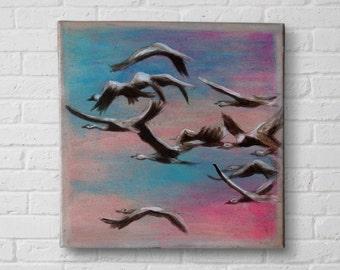 Crane Painting, Flock of bird painting, acrylic painting birds, original animal painting, Bird art, nature painting, bedroom art, art gift