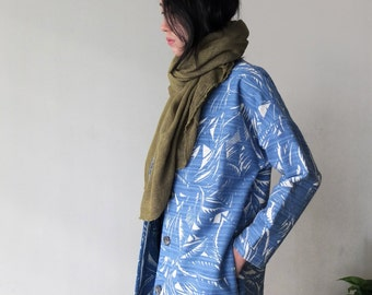 PALM COAT (limited edition) collarless minimalist vibrant blue palm print quality linen coat for transitional weather