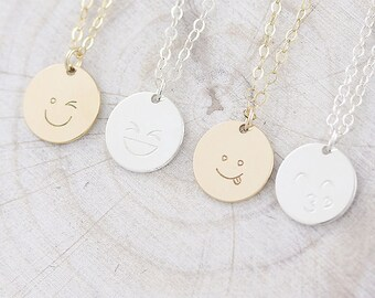 Emoji Necklace, Friendship Necklace, Kissing face Necklace, Gift for her in Silver/Gold Fill/Rosegold Fill ( HCN 12 HFEC Emoji )