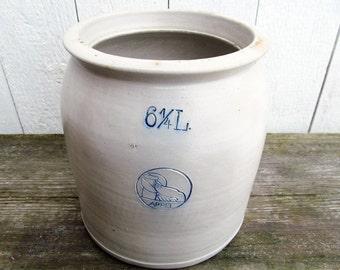 Earthenware Antique Stoneware Crock / Rustic Farmhouse / Stone Pot
