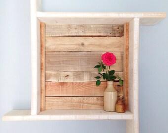 Rustic Wood Shelf in White - Local Cornish Timber & Reclaimed Wood