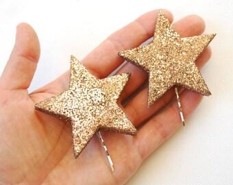 Verkauf, zwei funkeln Sterne Bobby Pins, Mädchen-Haar-Clip, Stütze, Hollywood Themen, Disco, Geburtstagsfeier, funkeln, funkeln, Hochzeiten-Haar-Accessoire
