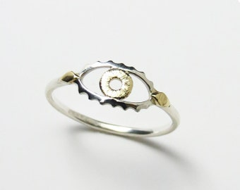 Eye Ring - Simple Eye Design Ring in Solid Sterling Silver, Solid Yellow Gold & Solid Rose Gold - Handcrafted by Ginny Reynders