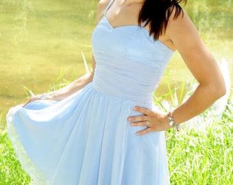 Festkleid, Partydress, hellblau, Brautjungferkleid, Chiffonkleid, Größe 36