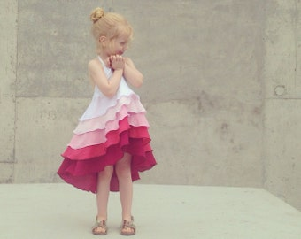 Girls Birthday Flamenco Party Dress in Pink Ombré