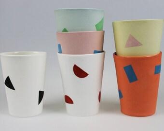 Geo Tumbler - Light Blue Porcelain with Green Rectangles