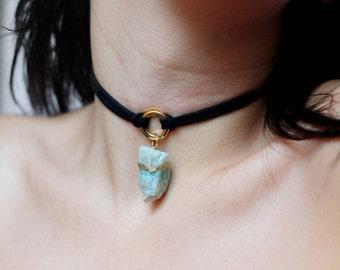 Raw Amazonite Choker Necklace, Crystal Healing Necklace, Vegan Crystal Choker Crystal Pendant, Chakra Necklace with Stone, Amazonite Jewelry