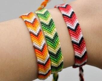 "knotted friendship bracelet ""arrow"" Ethno Boho  embroidery floss  festival bracelet  hippie bracelet"