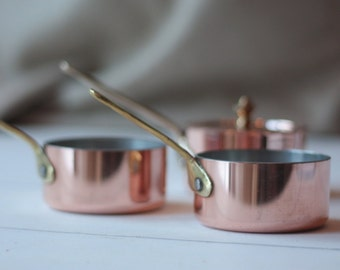 Single Extra Small French Vintage Copper Saucepan