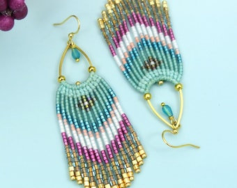 Long beaded fringe earrings made of micromacrame and miyuki seed beads teal fuchsia pink and gold