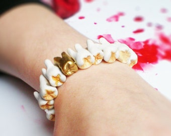 ORIGINAL! Human Teeth Bracelet with Gold Tooth
