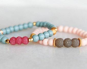 Pink bracelet, Beaded bracelet, Gold bracelet, Summer bracelet, Party bracelet, Gift for her, Bracelet for her, Accessory, Jewelry, Bracelet