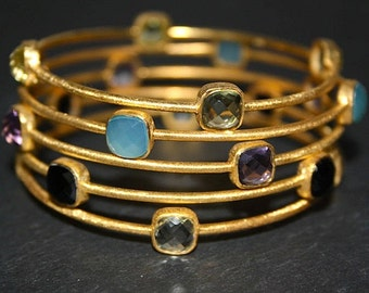 Pink amethyst and vermeil bangle, Semi precious stones and 18k gold sterling silver bracelet, Baie des Anges collection