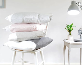 Light Grey & White Cushion, Stripe Linen Cotton Mix (Cloud)