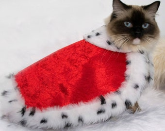 Royal Cat Costume - King/Queen cape for cats and small dogs with Ermine faux fur, Christmas cat costume, pet  costume, red/blue/purple/green