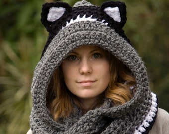 CROCHET PATTERN Cat Scoodie, Cat Hooded Scarf Pattern, Animal Scarf Pattern, Hood with Cat Ears