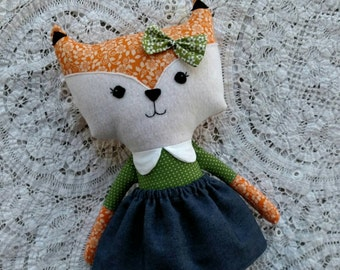 Fabric Fox doll, Floral Fabric Outfit, Plush doll with dress, rag doll, fox doll, stuffed doll, Jean skirt, green outfit