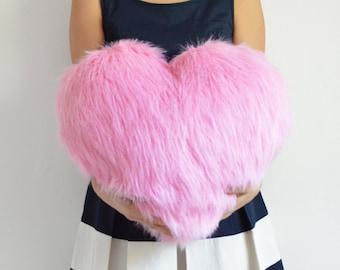 Pink Heart Pillow Pink Accent Pillow Throw Pillow Decorative Pillow Nursery Decor Fur Pillow Pink Decor Kids Room Decor Baby Pillow