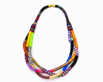 One Of A Kind Statement Necklace, Twisted Fabric Necklace, Colorful Textile Necklace, Big And Bold Necklace, Fiber Art Necklace