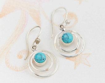 Turquoise Earrings,Dangle Earrings,Drop Earrings,Boho Earrings,Dangly Earrings,Bridesmaid Earrings,Silver Earrings,Pearl Earrings JE204