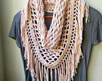 Crochet Scarf Pattern ONLY, Crochet Triangle Scarf Pattern, Fringe Scarf Crochet Pattern, Fringe Triangle Mesh Scarf, Spring Scarf Pattern