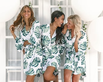 SET OF 3 - 10% Disc - Bespoke Bridesmaid Robes Set of 3 - Panama Palm - Code: P053 (B)