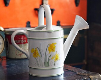 """Ceramic Watering Can - 1983 - Made in Portugal - """"Daffodils"""" - Flowers and Plants - Vintage Water Jug Container - Spring Season Bloom"""