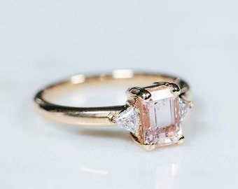 Morganite Engagement Ring | Emerald & Trillion Cut Diamond Wedding Ring | 14k Gold Three Stone Ring | Gemstone Band [The Jolie Ring]