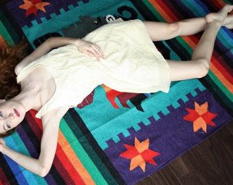 Large Aztec Warrior Rainbow Vintage Mexican Saltillo  Blanket Rug Blanket  - Southwestern Blanket - VVH0001