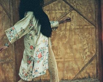 Vintage 1930's Embroidered Silk Kimono with Mongolian Fur Collar