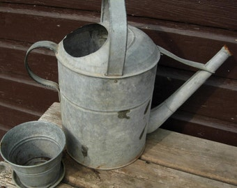 SALE. Great Vintage WATERING CAN. Old Galvanized Metal. 1940's Classic.