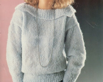 """womens mohair sweater knitting pattern pdf ladies mohair jumper with wide collar 26-40"""" 10ply mohair pdf instant download"""