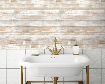 Distressed Wood Peel and Stick Wallpaper Gray Brown White 3D Realistic Reclaimed Barnwood RMK9050WP