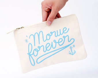 Small bag zip pouch 100% cotton french expression Morue Forever