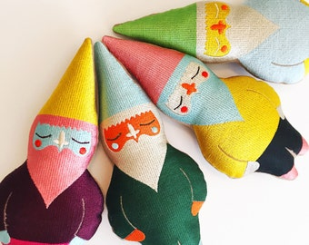 Jewel Toned Gnome in Yellow Hat, Pink Beard Combo: Machine Embroidered Keepsake