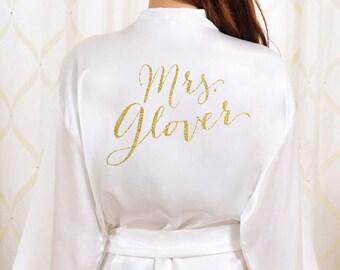 Bride Robe - Gold Glitter Bridal Robe - Bride Bathrobe Satin Cover - Bridal Dressing Robe - Bridesmaid Robe - Bridal Lingerie Shower Gift
