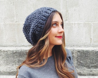 PATTERN for Slouchy Beanie Seed Stitch Droopy Hipster Hat // La Boulangerie Beanie PATTERN