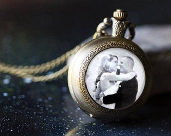 Personalized Long Bronze Photo Pocket Watch Necklace / Locket / Pendant - Customized with Your Photograph - Custom Gift for Wife, Mom