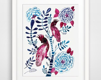 Watercolour flowers and bird Chinoiserie print with Peony Rose. Hollywood Regency Inspired.