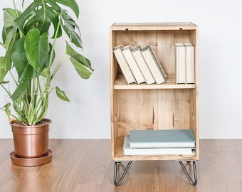 Reclaimed wooden wine crate furniture cabinet / coffee table / bed side table with hairpin legs - minimal up cycled mid century meets modern