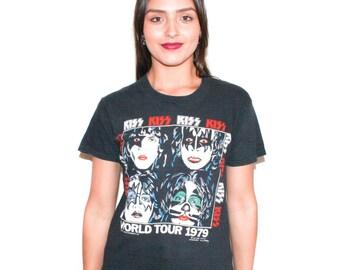 1979 Kiss World Tour 70s Concert Band T Shirt