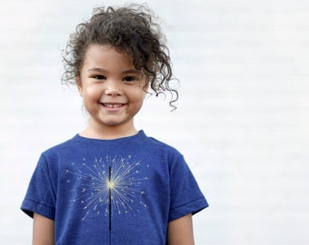July 4th Children Shirt Blue, Fireworks Sparkler Graphic Tee, 4th of July Kids Summer Tshirt Boys or Girls, July 4th Baby Gift