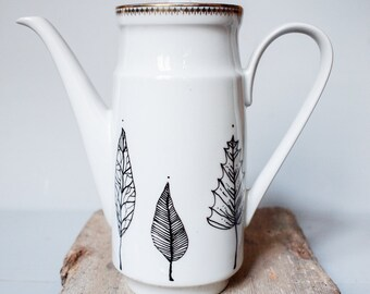 Handpainted porcelain coffepot, coffee pot illustrated with leaves, teapot, illustrated ceramic can, hand painted ceramic , gift