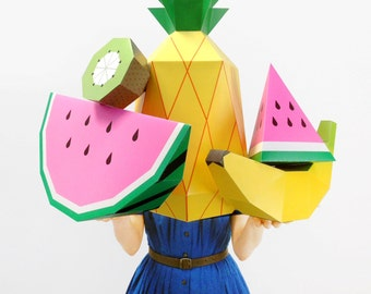 Giant Tropical Fruit Paper Sculpture Kit - 3D Paper Craft Templates to make party decor & photo props for tropical fruit party