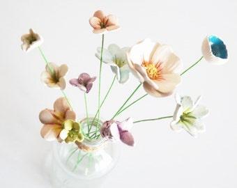 Ceramic flowers - 10 pastel handmade teeny tiny baby  pottery clay flowers and vase