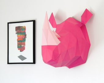 Papercraft RHINOCEROS Head Trophy. Rhino Faux Taxidermy DIY KIT, Animal Trophy made on paper, handmade Sculpture.