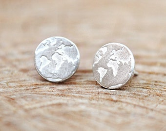 Travel Earrings / Gift for Women / Dainty Earrings / World map earrings/Travel Jewelry/ Globe Earrings/ World Earrings/ Silver stud earrings