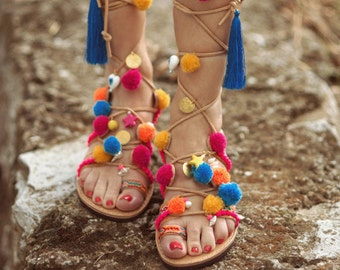 High Knee Gladiator Bohemian Pom Pom Sandals  / Greek Real Leather Sandals Decorated // Lace up Sandals/ Women's Sandals /